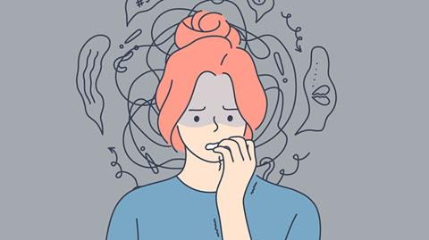 illustration of a woman biting her nails looking and feeling anxious