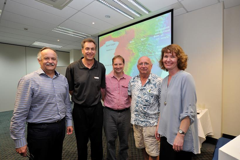 (Left to right):  David Coetzee, Brendan Morris, William Power, Richard Steele, and Lisa Pearse at the Tsunami Land-Use and Evacuation Planning Workshop in Gisborne.