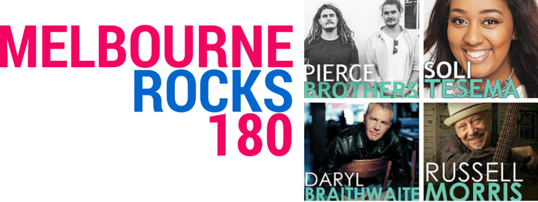 Daryl Braithwaite, Pierce Brothers, Russell Morris and Soli Tesema performing at the Melbourne Day Concert on 30 August