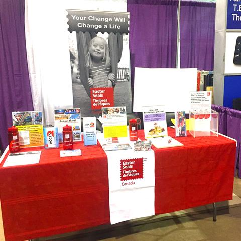 Image of Easter Seals' colourful booth at the Abilities Expo in Toronto