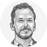 Drawing of newsletter editor Nat Ives