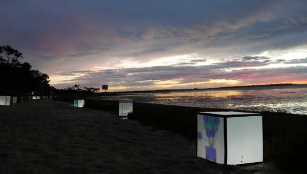 Light installations at sunset in Grantville, Victoria