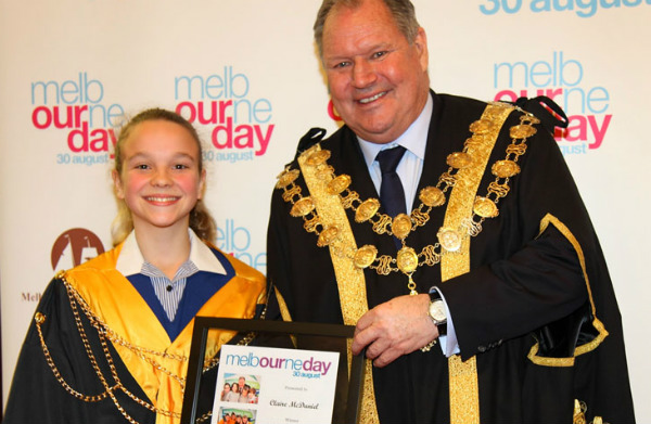 2015 Junior Lord Mayor Claire McDaniel and Lord Mayor Robert Doyle