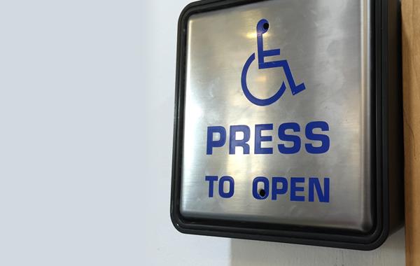 Wheelchair accessibility button.