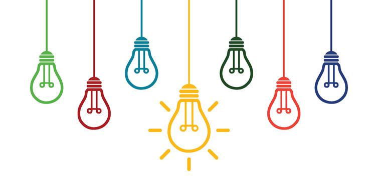 Six illustrated light bulbs.