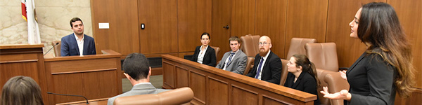 COurt room scene with UCLA Law students