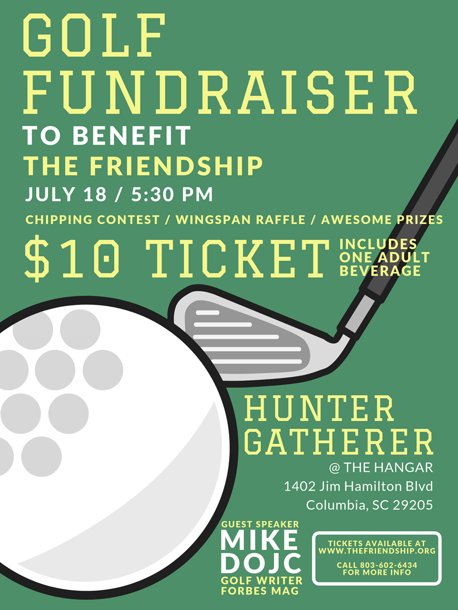 Announcement about golf fundraiser on July 18 at 5:30 at the Hangar; tickets are $10.
