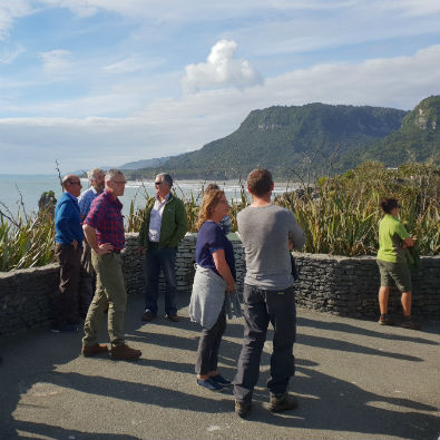 NZCA, Board members and DOC staff visiting Dolomite Point, Punakaiki.