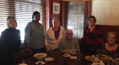 Members and volunteers at lunch at Blue Marlin
