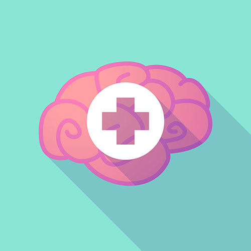 Graphic: Brain and First Aid Symbol