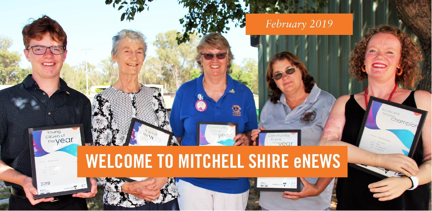 Australia Day award winners with text Welcome to Mitchell Shire enews, February 2019