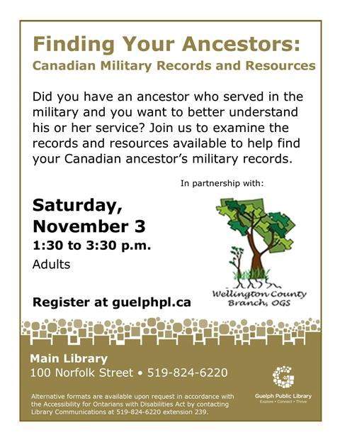 "Register for our ""Finding Your Ancestors"" event on Saturday November 3 at 1:30 p.m. in the Main Library. Presented in partnership with Ontario Genealogical Society."