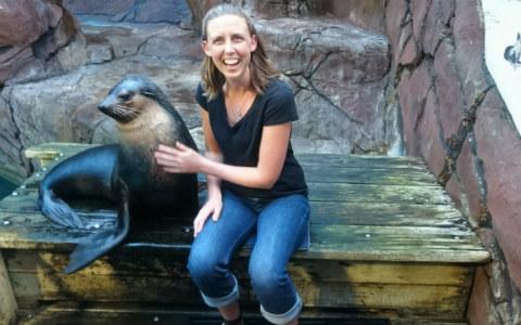 Monique with sea lion.