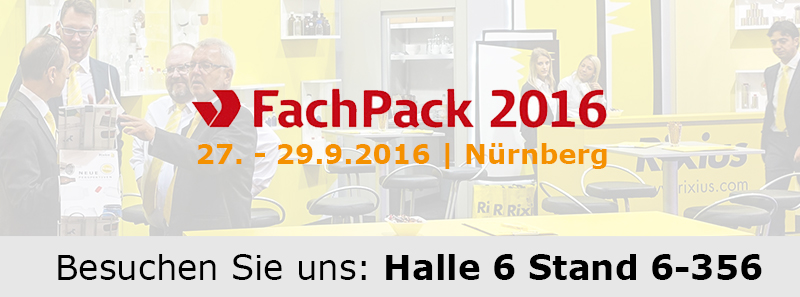Fachpack 2016 - Halle 6 Stand 6-356 . Rixius AG