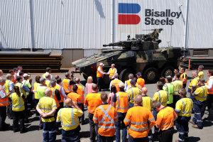 Leadership from both Rheinmetall and Bisaalloy Steel were in Wollongong for the teaming announcement. Credit: Rheinmetall