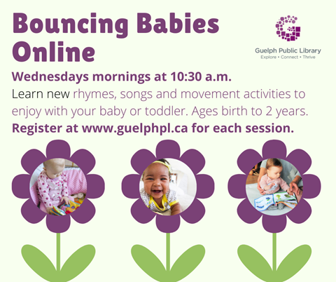 Register for our Bouncing Babies Online starting on Wednesday September 16 at 10:30am to learn new rhymes, songs and movement activities to enjoy with your baby or toddler. Ages birth to 2 years.