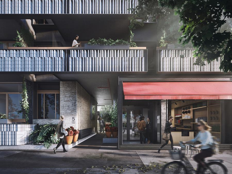 Visualisation of Duckett Street frontage of Nightingale Village