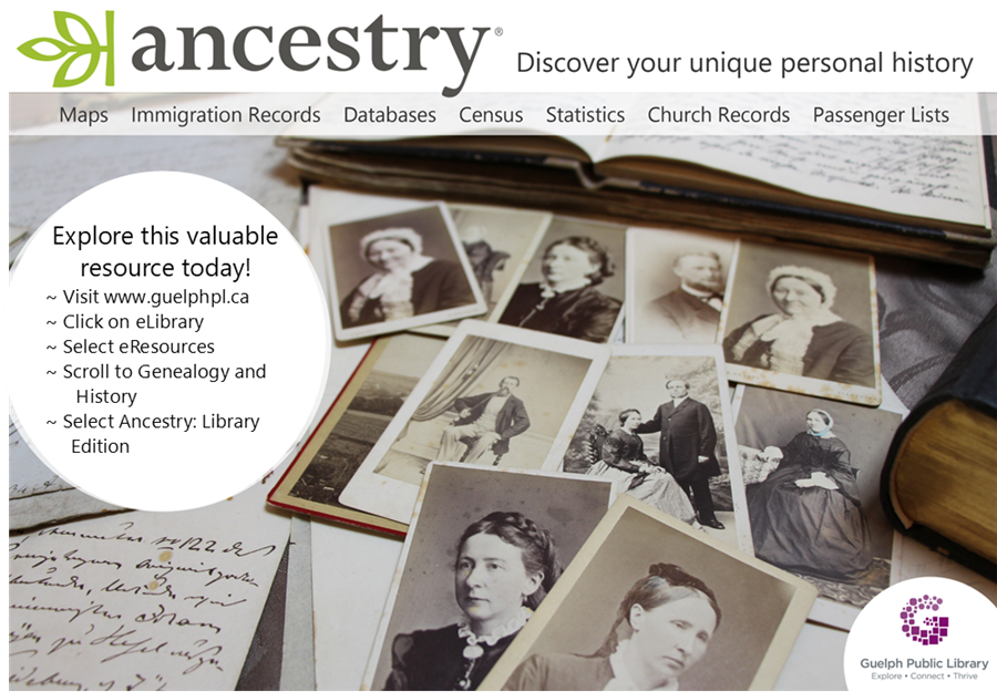 Discover your unique personal history with Ancestry.com. Use this online resource with your library card.