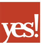 """The logo of Yes! magazine: a red box with """"yes!"""" in knockout text."""