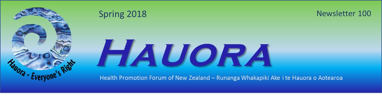 Header for the Spring 2018 edition (Issue 100) of the Hauora Newsletter.