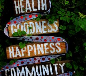 """A handpainted wooden sign against a forest background. The sign says """"health, goodness, happiness, community."""""""