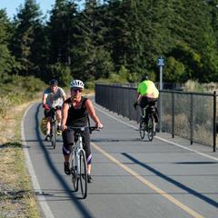 Cyclist use a bike trail on Vancouver Island