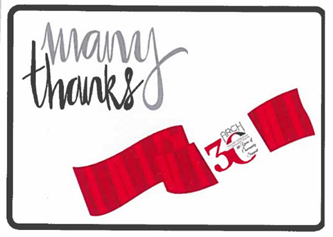 This is the face of a card of thanks. It reads, many thanks and includes an image of a red scarf the the ARCH logo centered in the tail of the scarf.