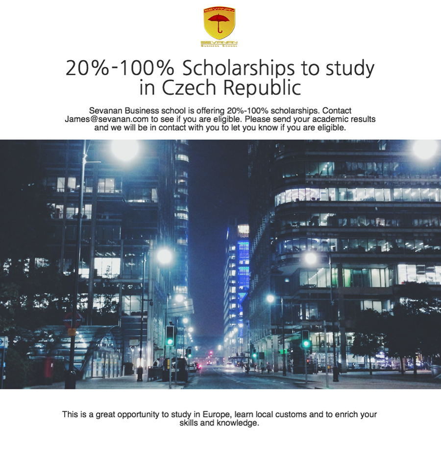Scholarships to study in Czech Republic by Sevanan Business School - 20% - 100% Scholarships to study in Czech Republic by Sevanan Business School