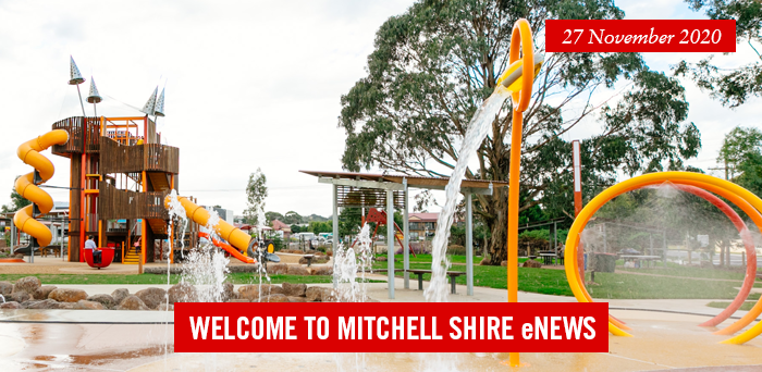 words: welcome to Mitchell Shire eNews, 30 October 2020, Pictured. vibrant yellow wattle branch on blue sky