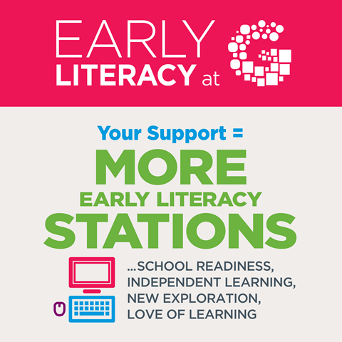 Your support equals more early literacy stations which in return provides school readiness, independent learning, new explorations, and a love of learning at an early age.