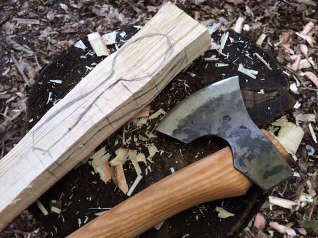 Spoon marked out and cranked for carving with an axe