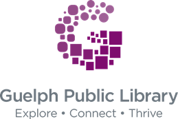 Guelph Public Library logo along with tagline explore, connect, thrive.