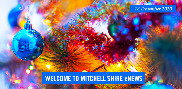 words: welcome to Mitchell Shire eNews, 18 December 2020, Pictured. child giving the thumbs up under water