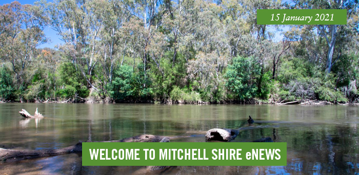 words: welcome to Mitchell Shire eNews, 15 January 2021, Pictured. Horseshoe Lagoon, Trawool