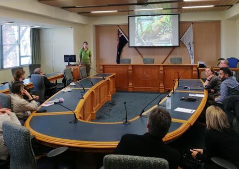 Jodie talks at Invercargill City Council. Photo by Cassandra Scobie