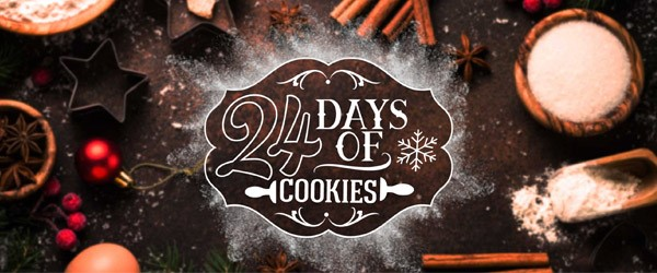24 days of Cookies headline on a table covered with baking supplies and powdered sugar.