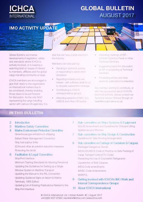 ICHCA Global Bulletin August 2017 - IMO Activity Update