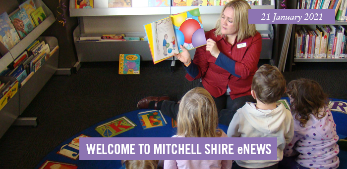 words: welcome to Mitchell Shire eNews, 29 January 2021, Pictured: Librarian reads to you children