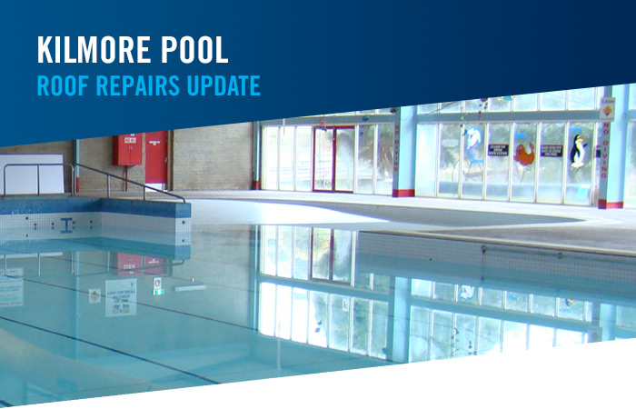 Kilmore pool roof repairs update text with blue swimming pool photo