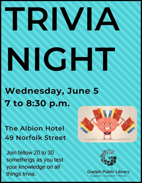 Join fellow 20 to 30 somethings at the Albion Hotel for Trivia Night on Wednesday June 5 at 7 p.m. Test your knowledge on all things trivia. Come with a group or come on your own! Adults.