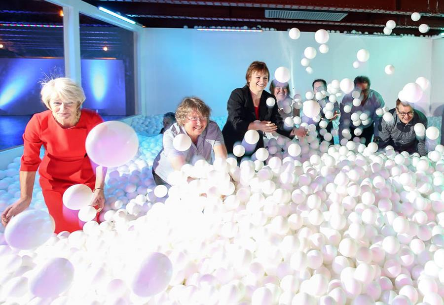 Professor Dame Nancy Rothwell enjoying JumpIn! at the Museum of Science and Industry