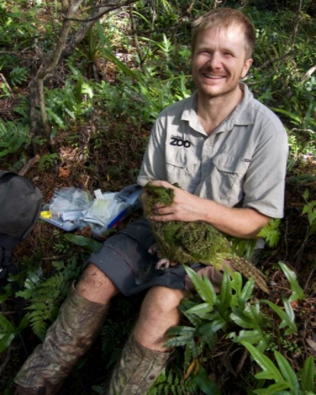 Senior Vet Manager James Chatterton doing health check on a kākāpō