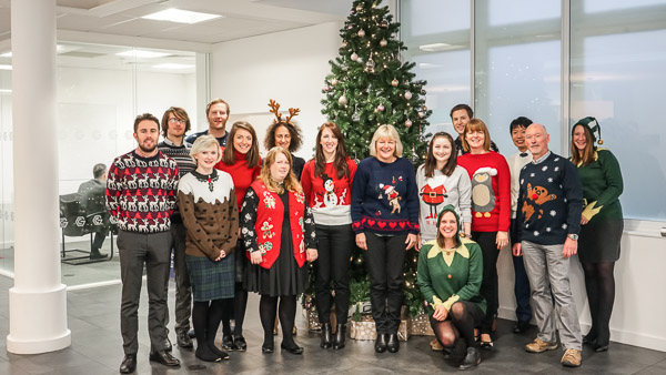 The ESOF and European City of Science teams in their Christmas jumpers.