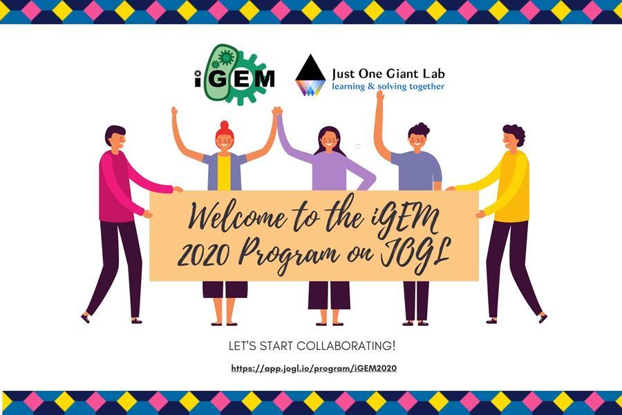 "Main banner img: ""Welcome to the iGEM 2020 Program on JOGL. Let's start collaborating!"""
