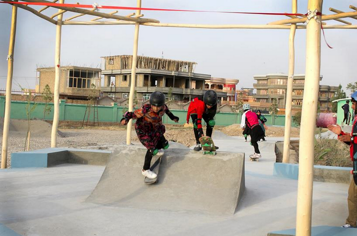 Afghan girls skating an outdoor skatepark for the 1st time - Skateistan