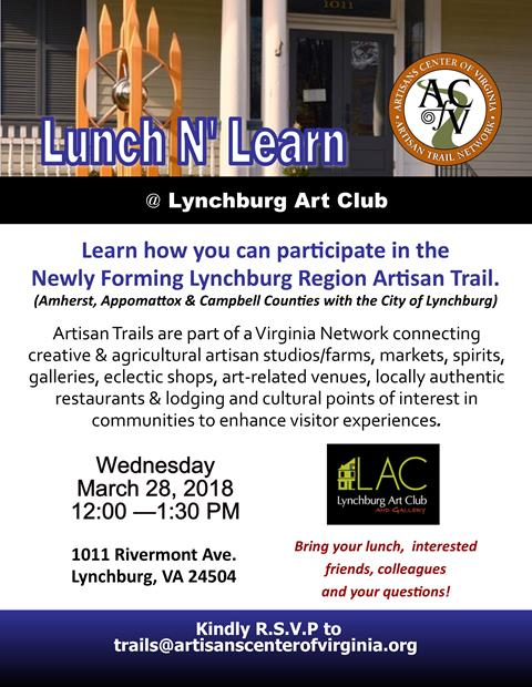 Lynchburg Region Artisan Trail Naming Event, Jan 23, Point of Honor Historic Home, 5:30 pm