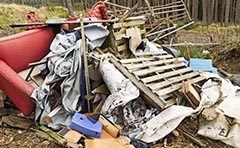 A photo of an illegal dumping site
