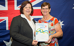 A photo of Mayor Gail Sellers with this year's Citizen of the Year, Judith Young