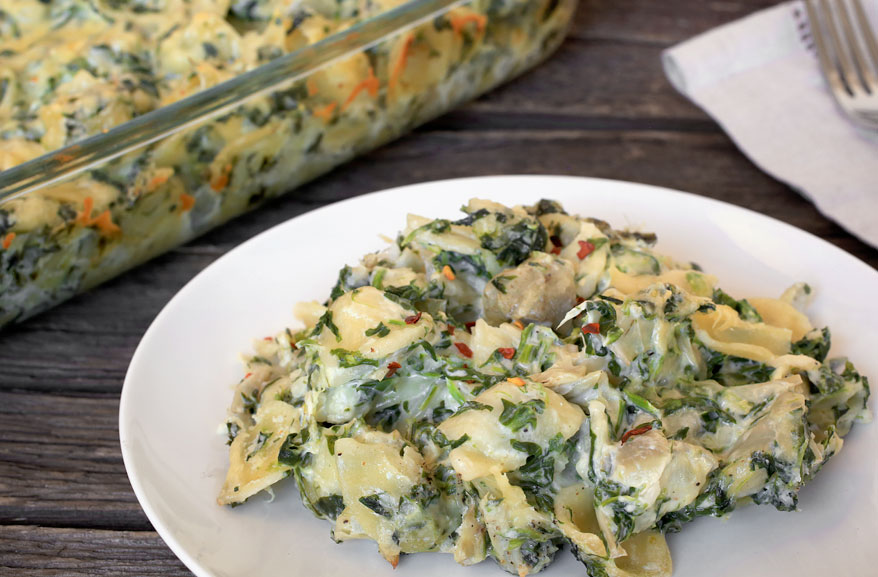 Spinach artichoke pasta casserole