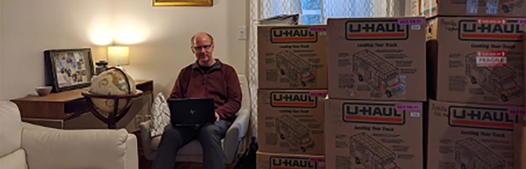 Nathan Urban in his work-from-home office